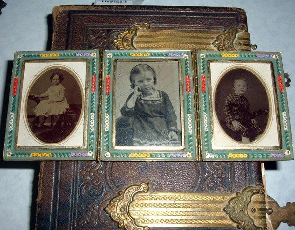 13: Victorian Leather Bound Album Family Photos