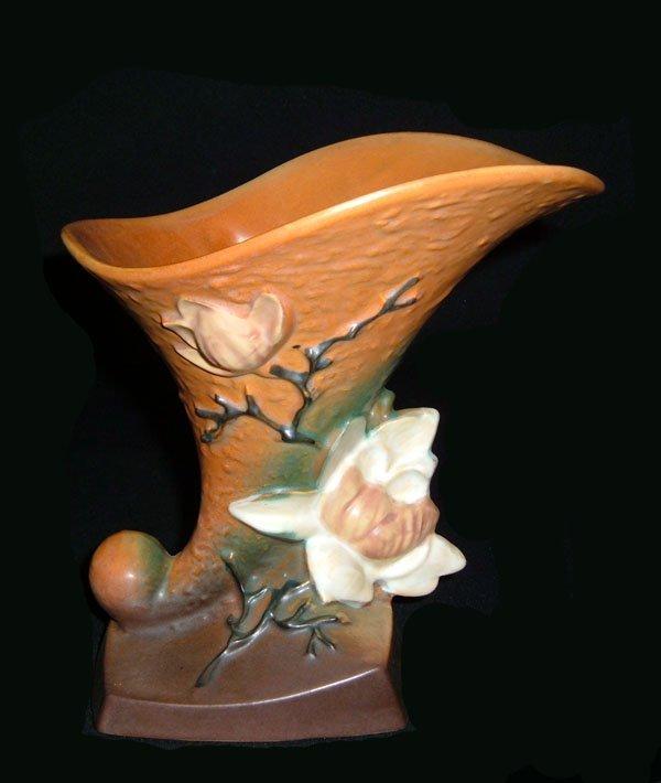21: Roseville #185-8 Brown Magnolia Cornucopia Vase