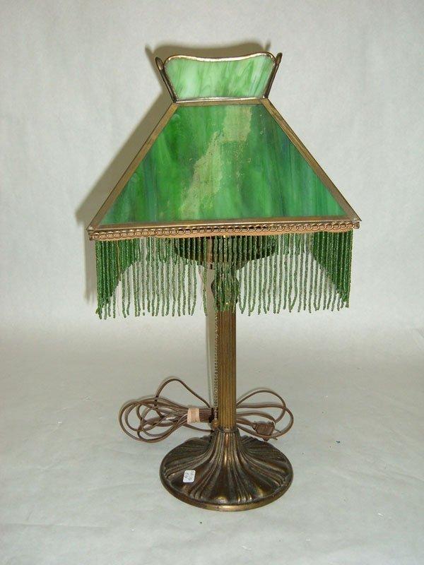 354: Table Lamp w/Green Slag Glass Shade