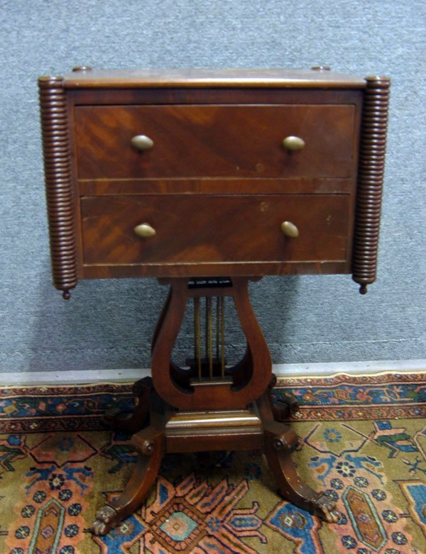 355: Second Empire 2-Drawer Mahogany Stand Lyre Base