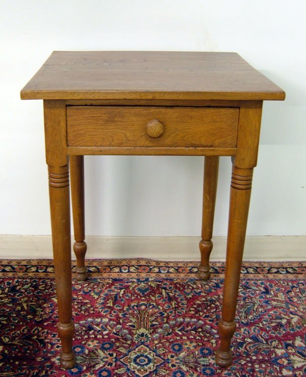 356: c. 1865 Walnut One-Drawer Stand Turned Legs