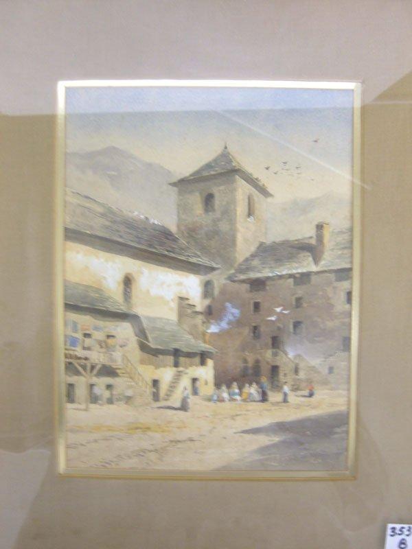 353B: 20th c. European School Figues in a Courtyard