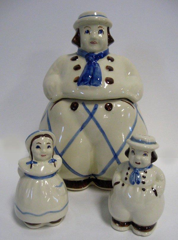 3: Dutch children cookie jar and matching salt and pepp