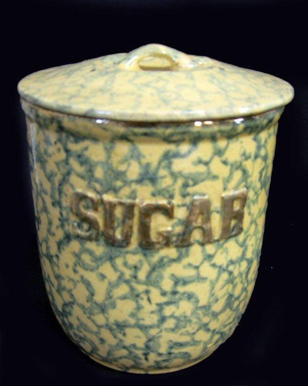 8: Green spongeware sugar cannister jar with lid. Perfe