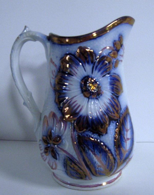 17: Dahlia pitcher. Blue and white Gaudy ironstone pitc