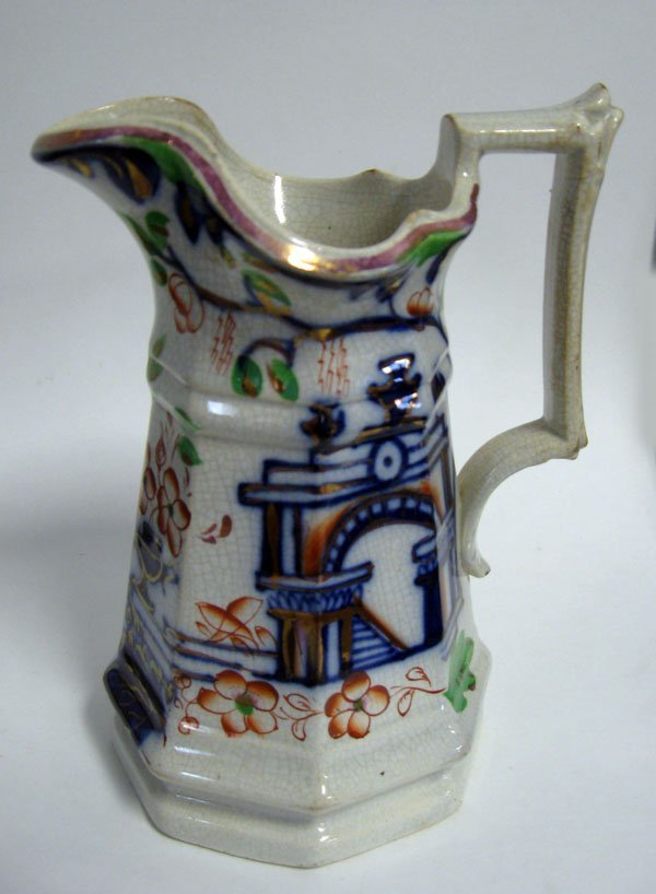 24: Gaudy ironstone tall pitcher in Imari colors, Asian