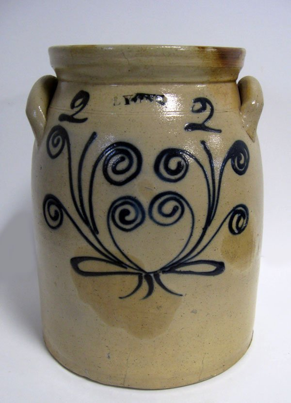 389: 'LYONS'' two gallon stoneware crock with free styl