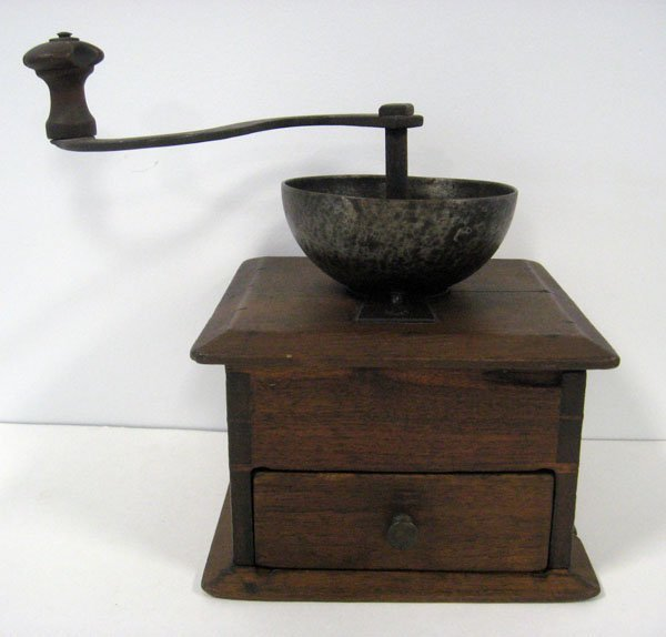 3: Wooden coffee mill, walnut, dovetailed. Appropriate