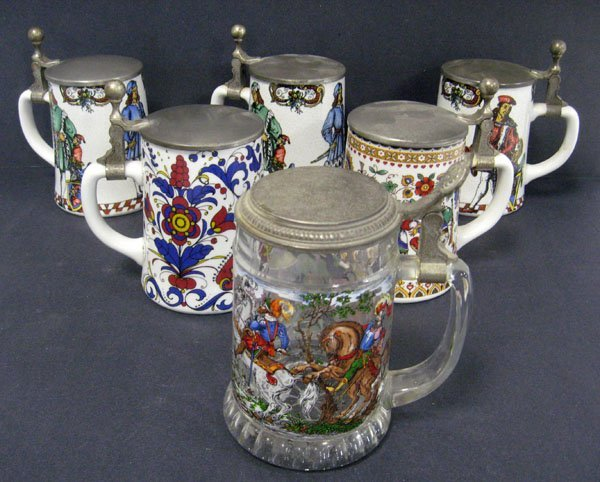 8: Six lidded steins, Western Germany, five ceramic and