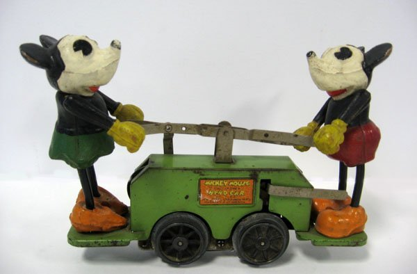 10: Mickey Mouse handcar, original as found condition.