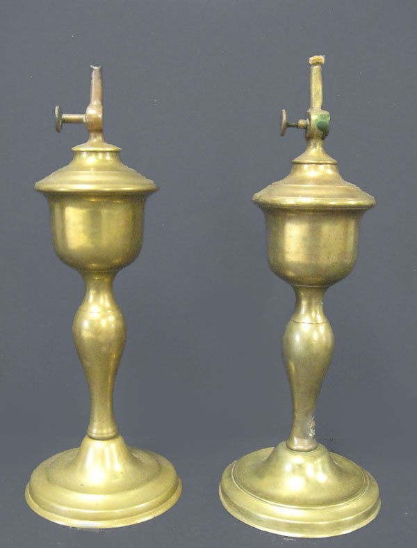 15: Pair of brass oil lamps in the shape of candlestick