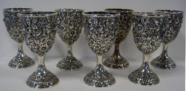 132: Set of seven sterling silver goblets by Schofield,