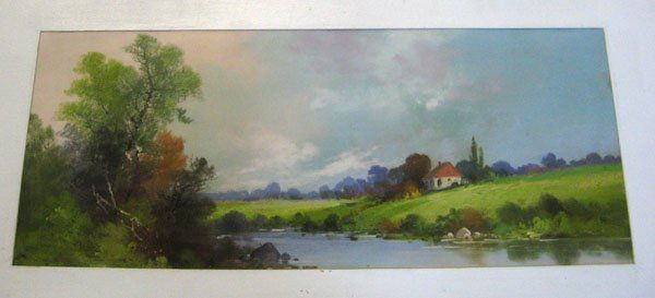 257: Pastel, colorful fall landscape with hillside, cot