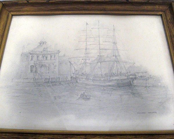 354: Pencil drawing of a harbor scene by Allen Hawks ''