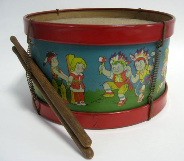 J. Chein toy drum with scenes of children playing. Appr
