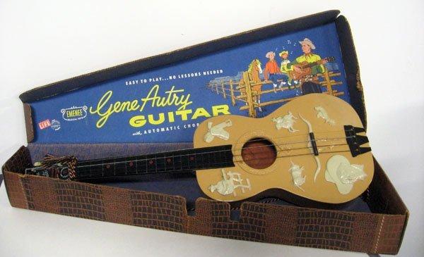 Gene Autry Emenee guitar in case, 1950's. Excellent ove