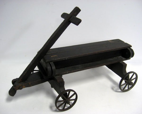 Wooden doll size wagon ''Jr. Convertable'' with iron wh