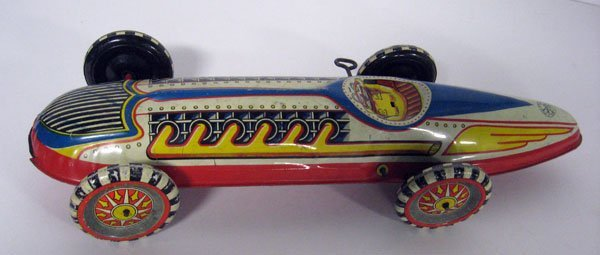 1950's Marx speed car, key wind. Missing driver. Normal