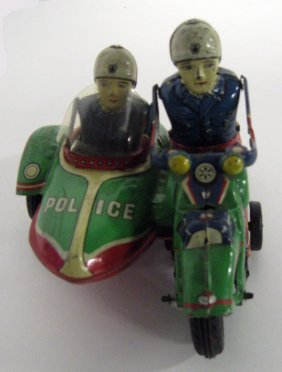 Modern Toys Police Motorcycle With Side Car. Good Condi