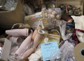 Misc. Lot Of Doll Parts, Glass Eyes, Bisque Legs And Ar