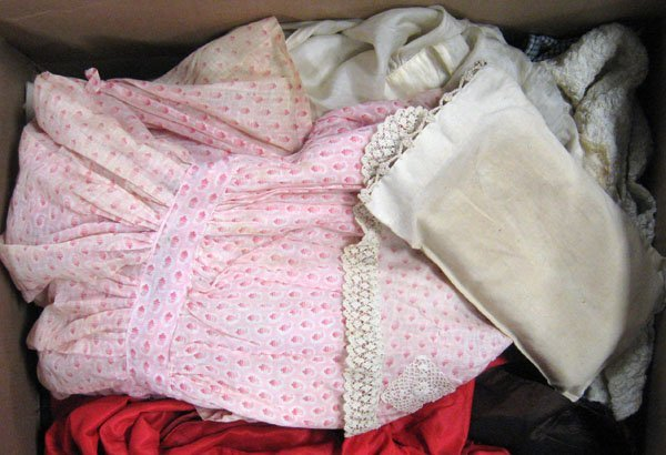Misc. lot of antique and vintage large doll clothing. A