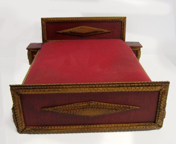 Tramp Art doll bed. Chip carved, with 2 side cabinets a