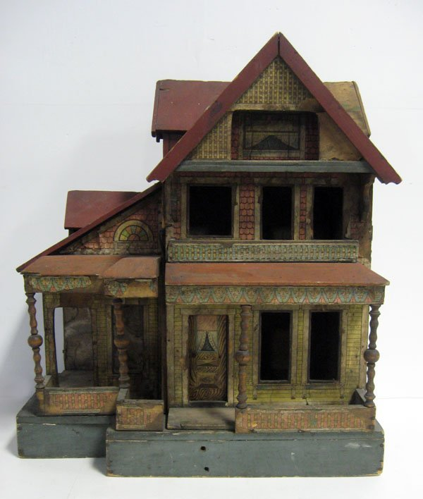20 1/2''h antique Bliss lithograph two story doll house