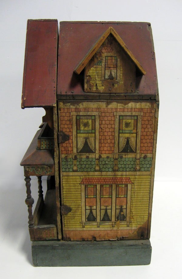 20 1/2''h antique Bliss lithograph two story doll house - 2