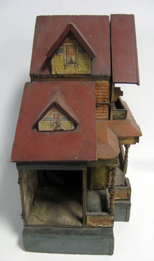 20 1/2''h antique Bliss lithograph two story doll house - 3