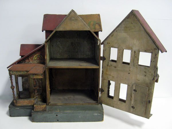20 1/2''h antique Bliss lithograph two story doll house - 4