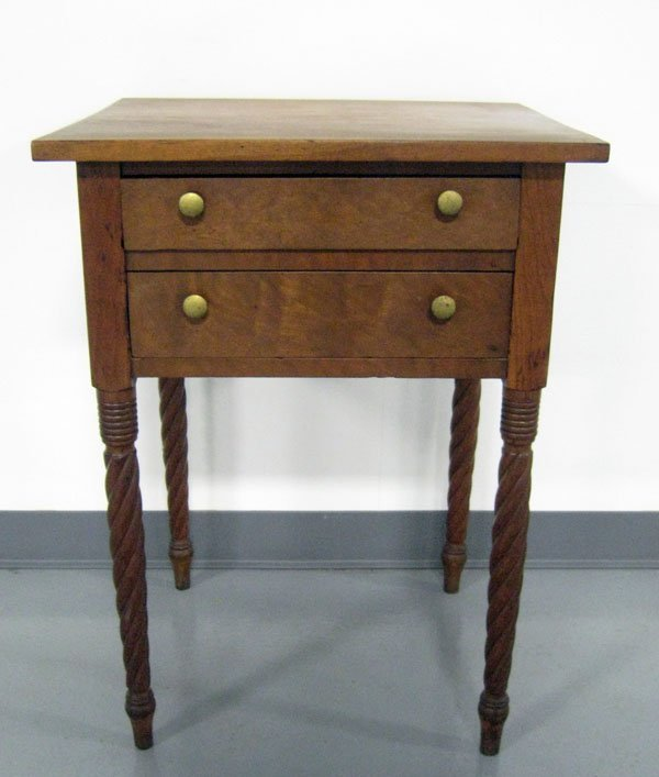 Cherry two drawer stand with rope twist legs, dovetaile