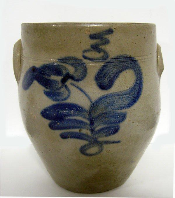 Stoneware 3 gallon crock with freehand cobalt floral de