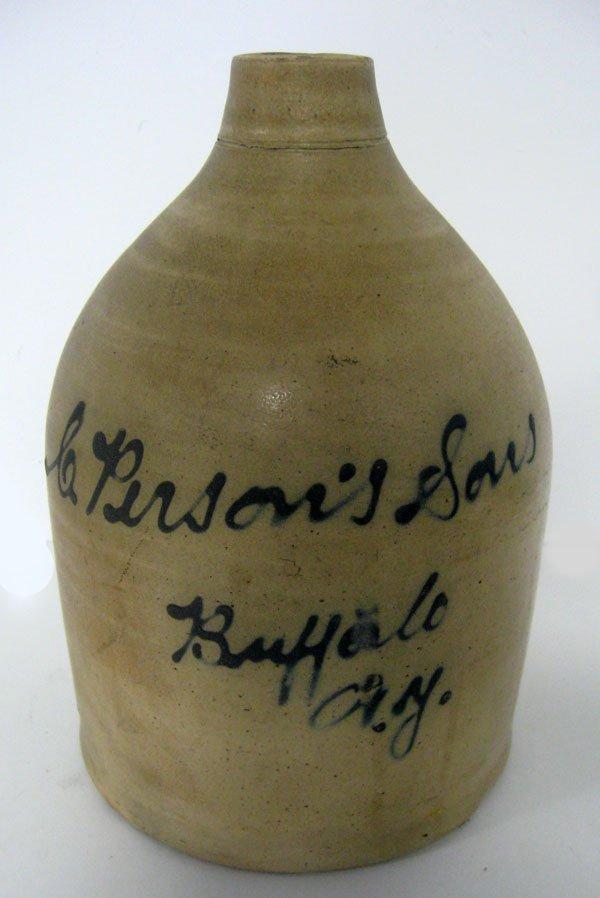 Stoneware 1 gallon jug J. Fisher Lyons, NY. with advert