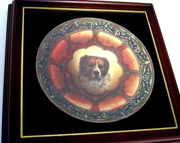 Rare Nippon dog portrait plate in shadow box frame. Pla