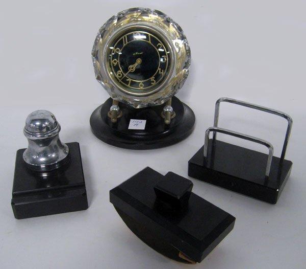 Art Deco desk set with working clock, inkwell, blotter,