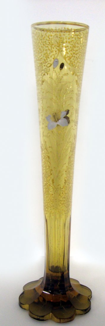 Tall amber etched and enameled glass trumpet vase. Smal
