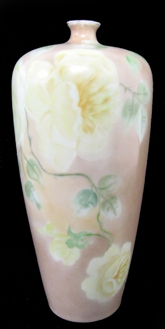 Rosenthal hand painted vase with yellow roses and salmo