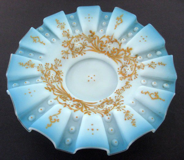 Victorian blue satin glass bowl [brides basket insert]