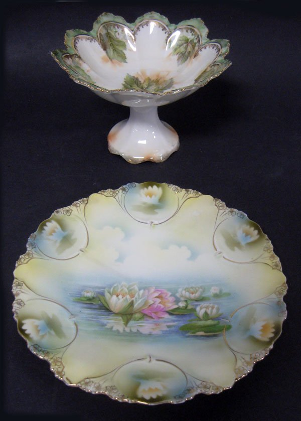 RS Prussia Water Lily plate and a RS Prussia floral com