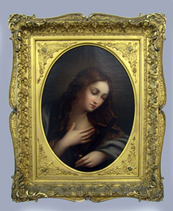 Oil on canvas, young lady with a cross, early 19th cent