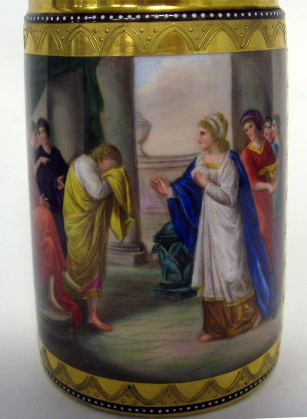 Royal Vienna porcelain stein hand painted with classica