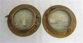 6 Two brass ship portholes