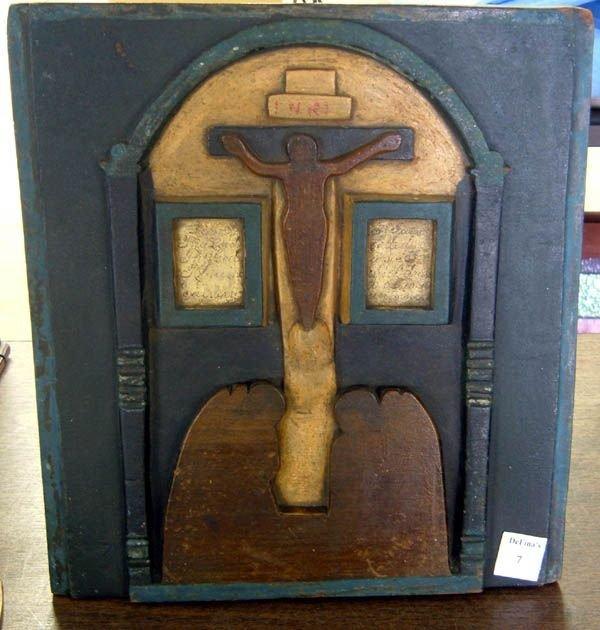 7: Carved folk tramp Art plaque of Jesus