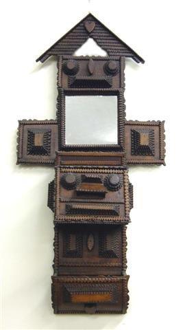 13: Folk tramp art comb case