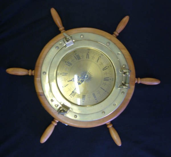27: Ship's Wheel with Brass Porthole