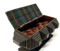 52 Folk tramp art Threepedestal box