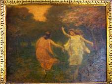 60: 19th century painting.  Dancing in the field.