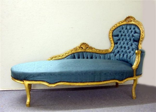 195: Chaise lounge Carved Gilded Wood Frame 1880's