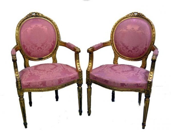196: Pair of Louis XV style French armchairs