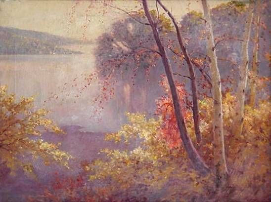 198: C. Muller. Autumn Lake Landscape Oil on Canvas